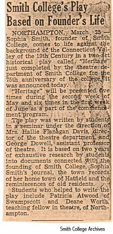Newspaper clipping of student production, 1950