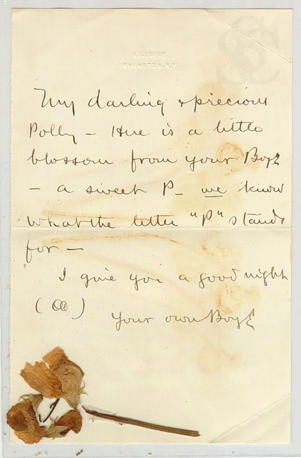 Letter with pressed flower, circa 1893