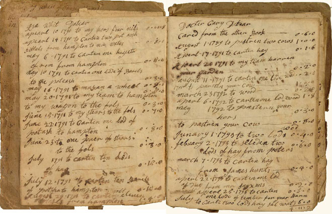 Bodman account book, 1830