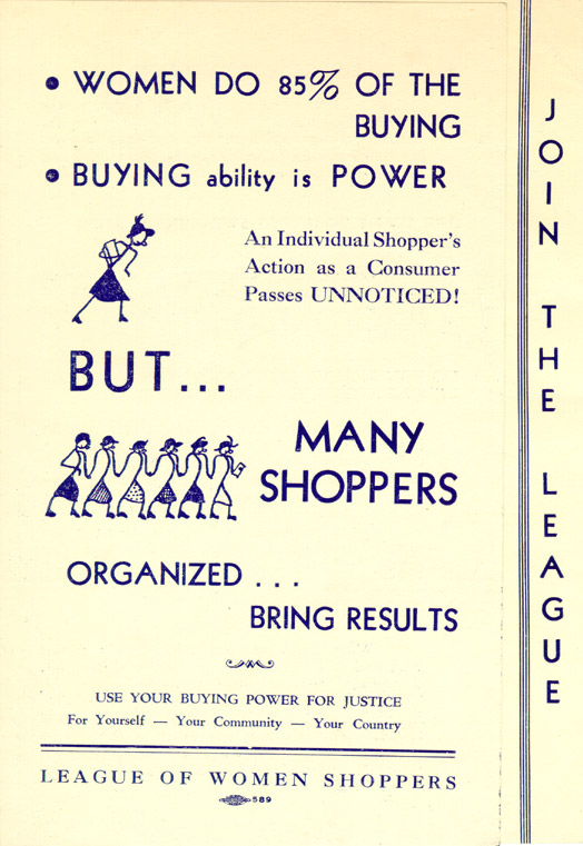 League of Women Shoppers pamphlet, circa 1937