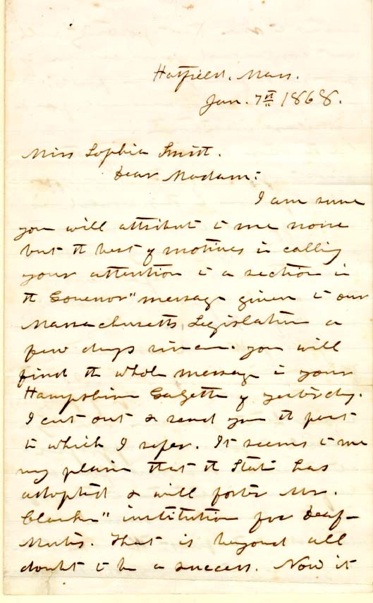 John M. Greene to Sophia Smith, 1868