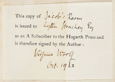 Subscriber's ticket signed by Virginia Woolf, 1922